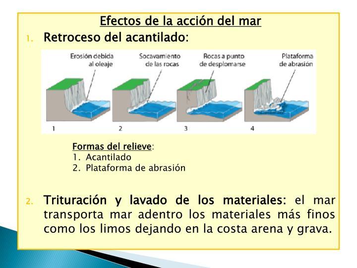 Efectos de la acción del mar