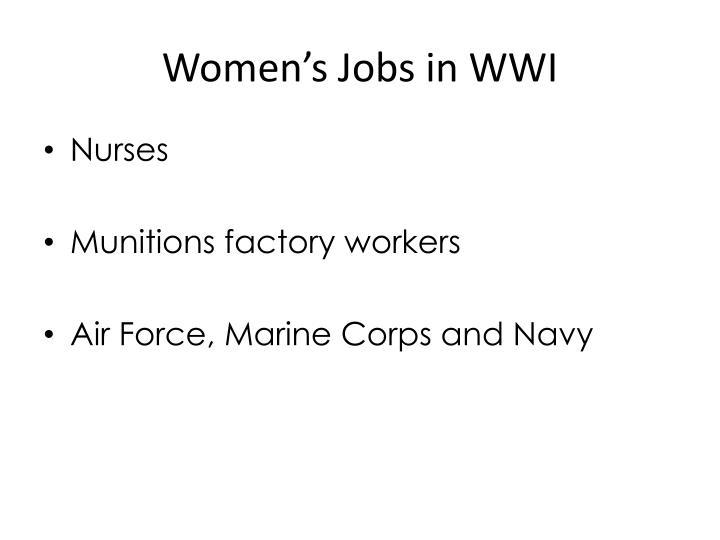 Women s jobs in wwi