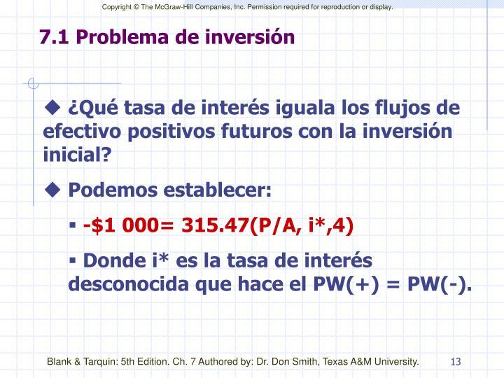 7.1 Problema de inversión