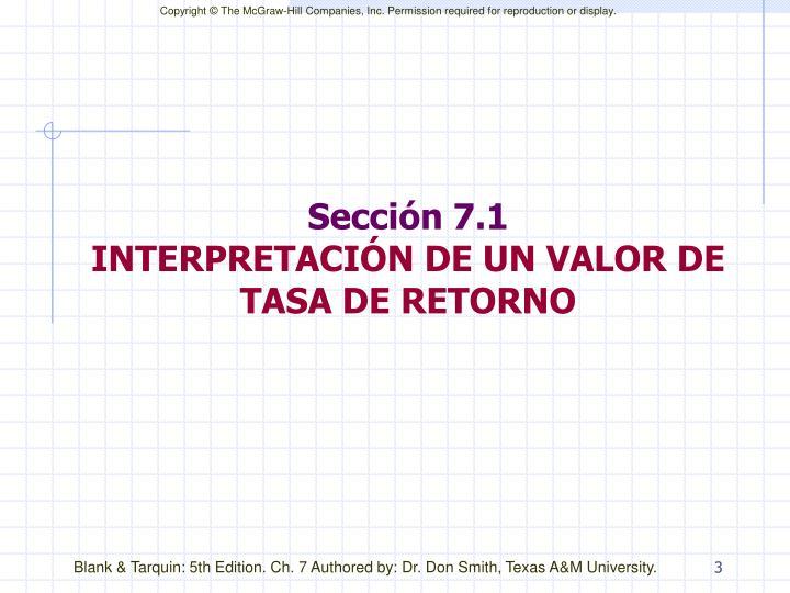 Secci n 7 1 interpretaci n de un valor de tasa de retorno