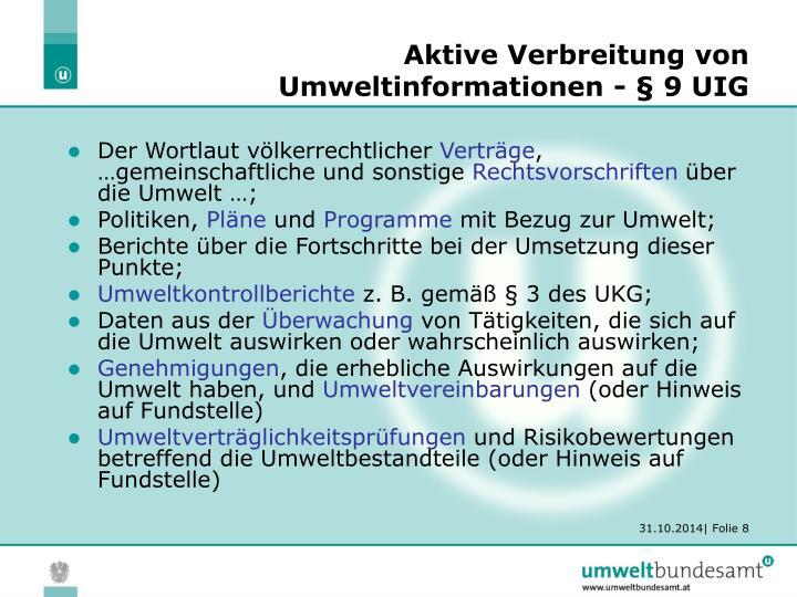 Aktive Verbreitung von Umweltinformationen - § 9 UIG