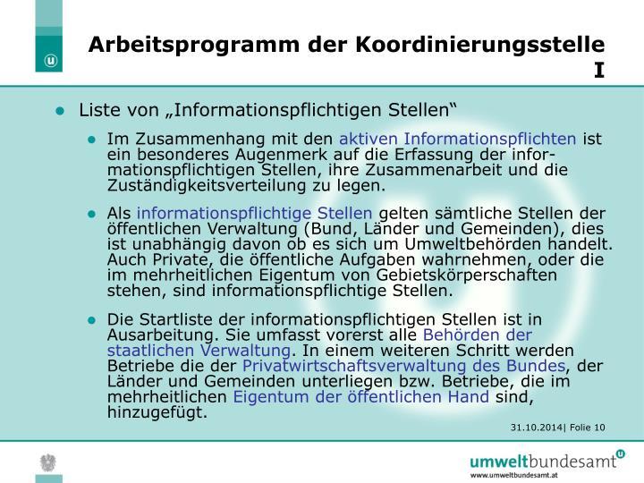 Arbeitsprogramm der Koordinierungsstelle I
