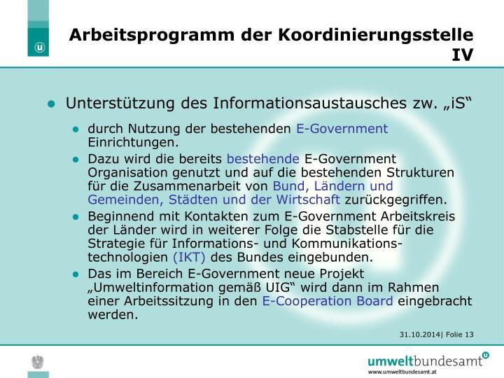 Arbeitsprogramm der Koordinierungsstelle IV