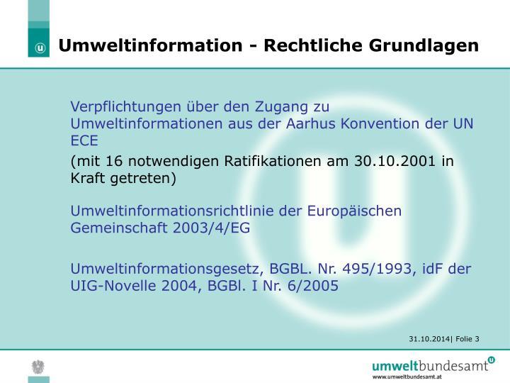 Umweltinformation rechtliche grundlagen