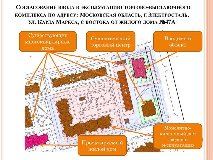 Согласование ввода в эксплуатацию торгово-выставочного комплекса по адресу: Московская область, г.Электросталь,