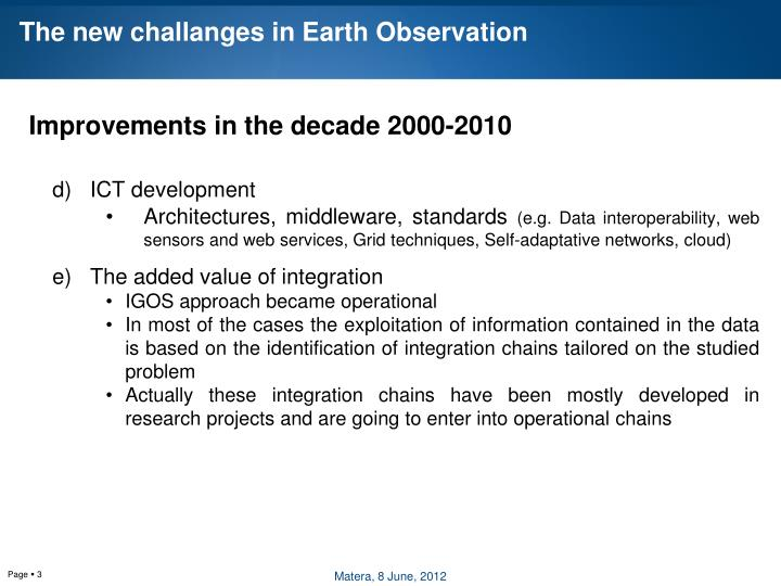 The new challanges in earth observation1