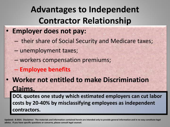 Advantages to Independent Contractor Relationship