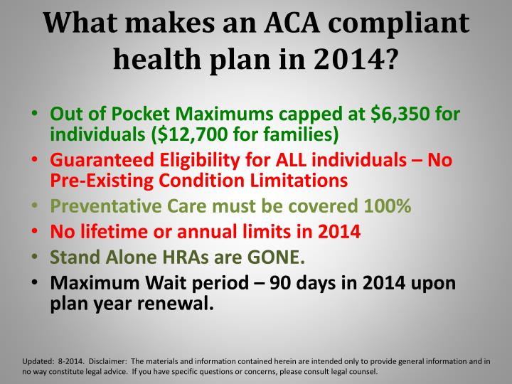What makes an ACA compliant health plan in 2014?