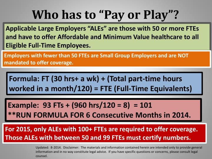 "Who has to ""Pay or Play""?"