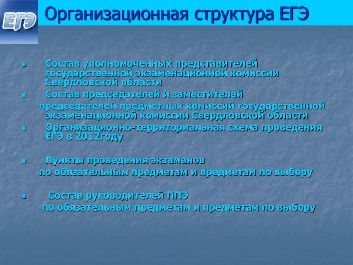 Организационная структура ЕГЭ