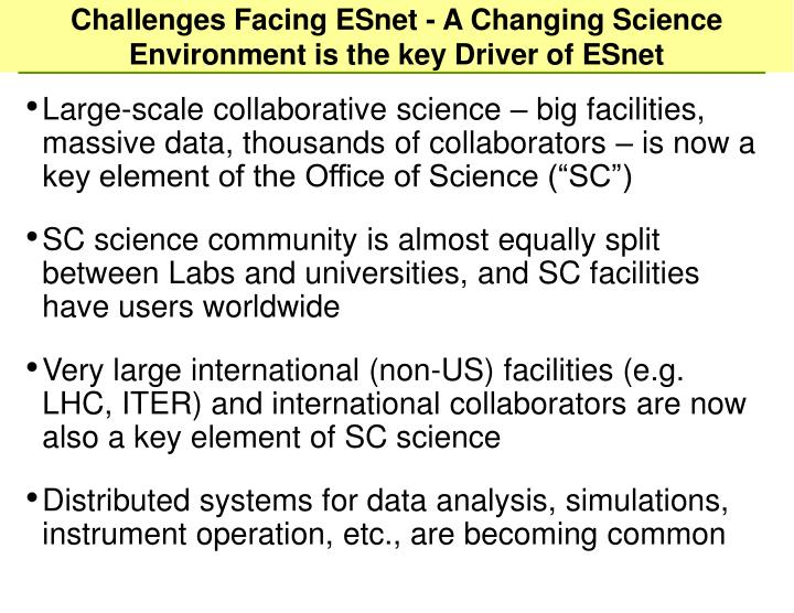 Challenges Facing ESnet - A Changing Science Environment is the key Driver of ESnet