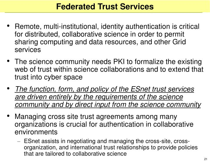 Federated Trust Services