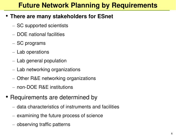 Future Network Planning by Requirements