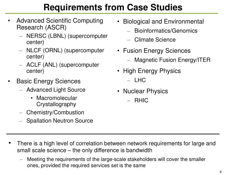 Requirements from Case Studies