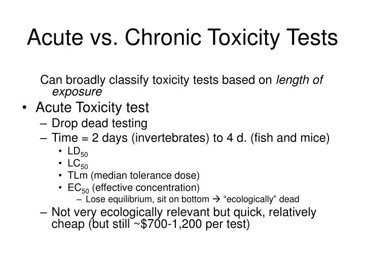 Acute vs. Chronic Toxicity Tests