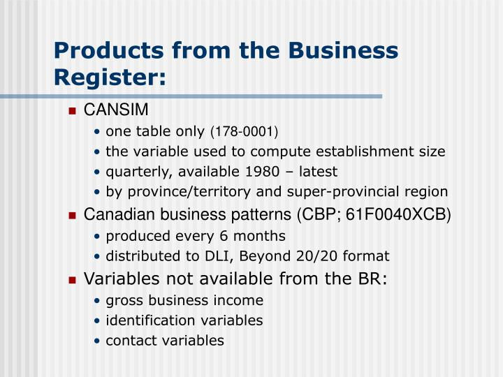 Products from the Business Register: