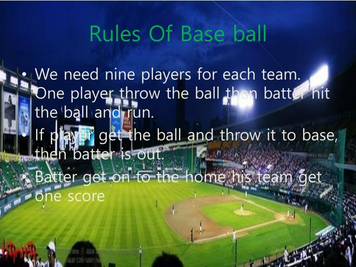 Rules of base ball
