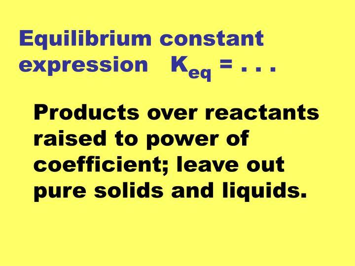 Equilibrium constant expression   K
