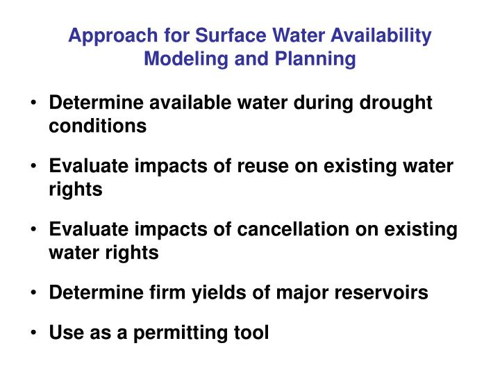 Approach for Surface Water Availability Modeling and Planning