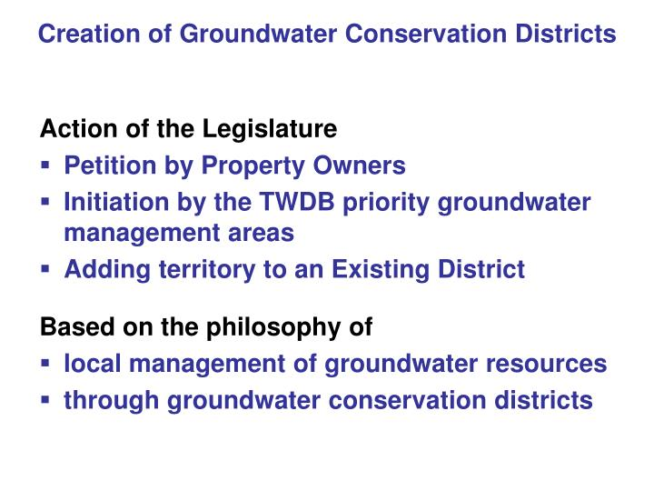 Creation of Groundwater Conservation Districts