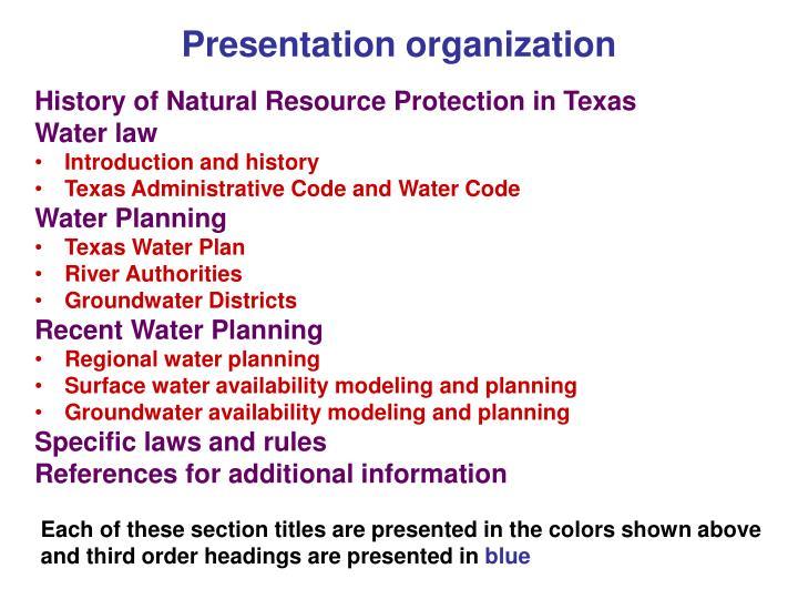 Presentation organization