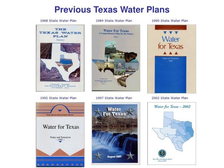 Previous Texas Water Plans
