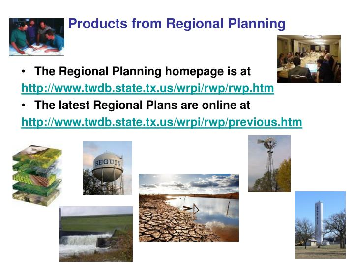 Products from Regional Planning