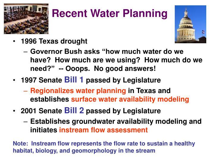 Recent Water Planning