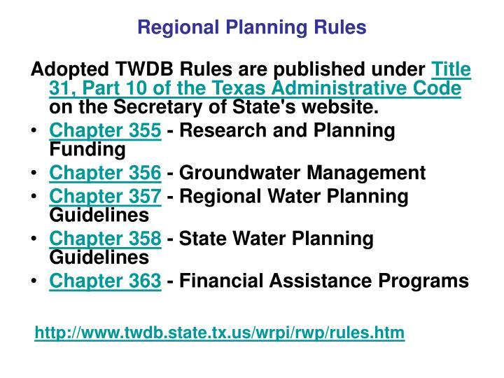 Regional Planning Rules