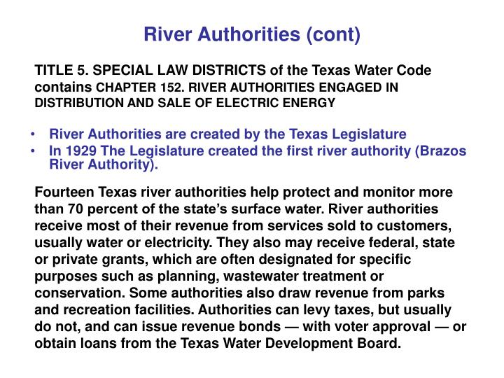 River Authorities (cont)