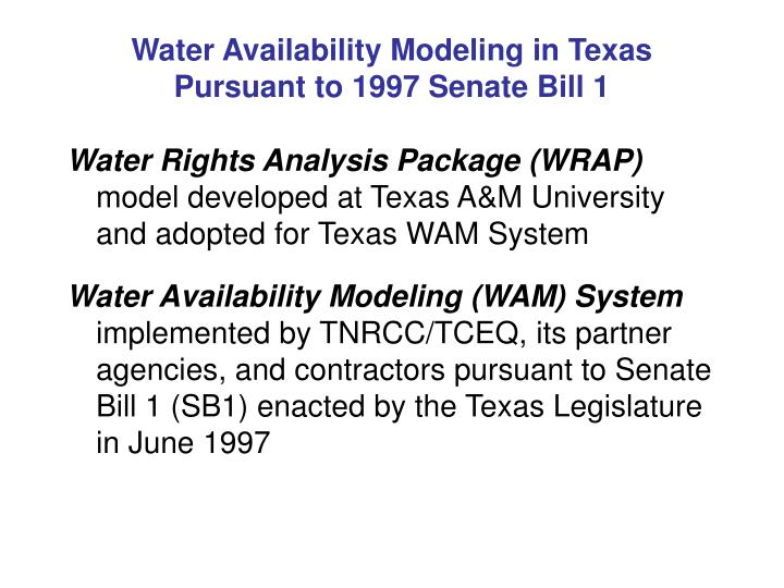 Water Availability Modeling in Texas