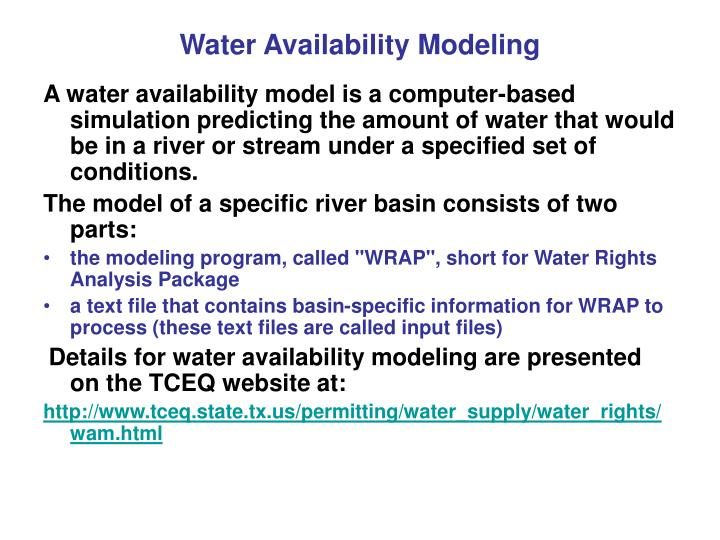 Water Availability Modeling