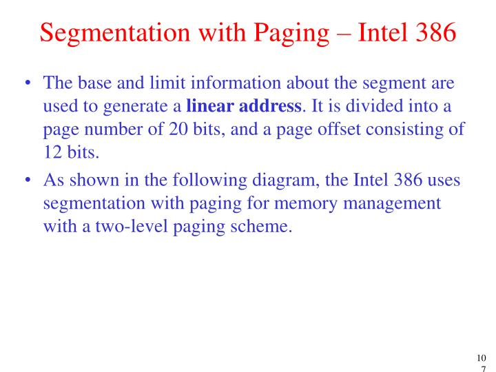 Segmentation with Paging – Intel 386