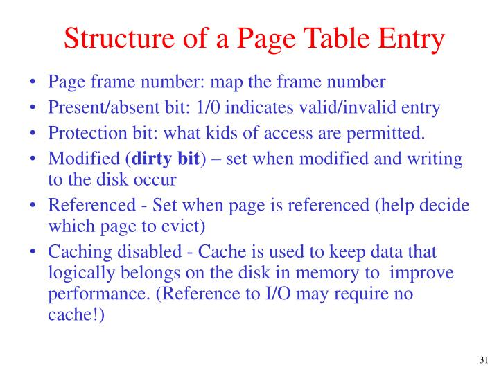 Structure of a Page Table Entry