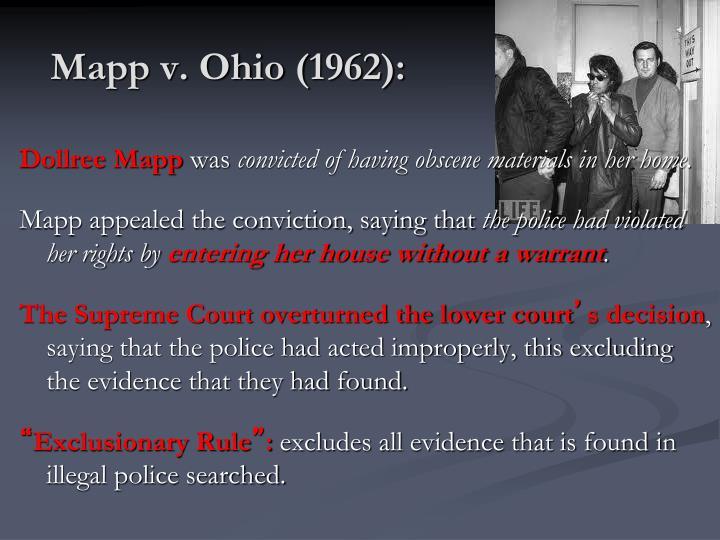 Mapp v. Ohio (1962):
