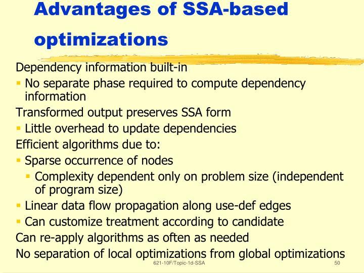 Advantages of SSA-based optimizations