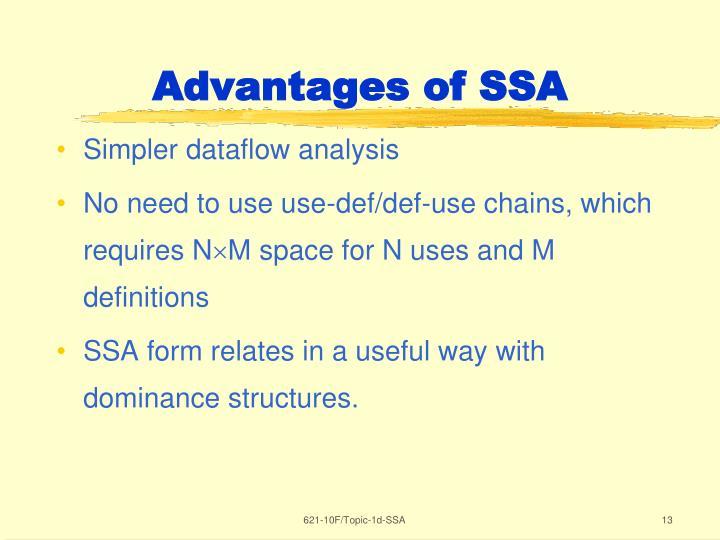 Advantages of SSA
