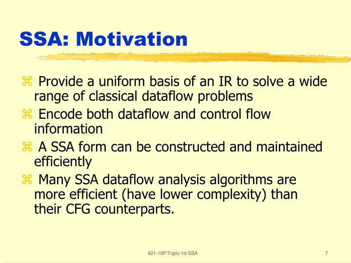 SSA: Motivation
