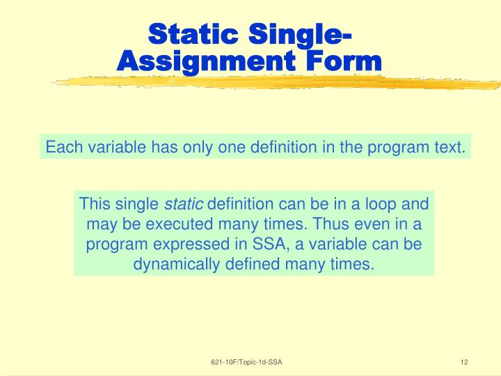 Static Single-Assignment Form
