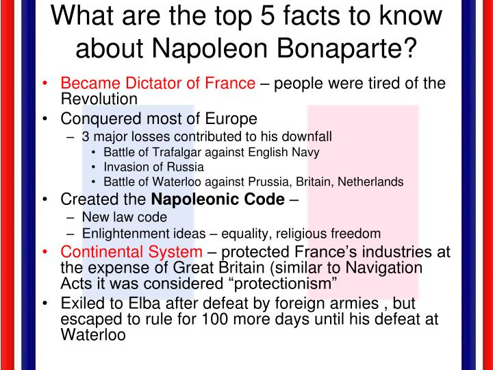 What are the top 5 facts to know about Napoleon Bonaparte?