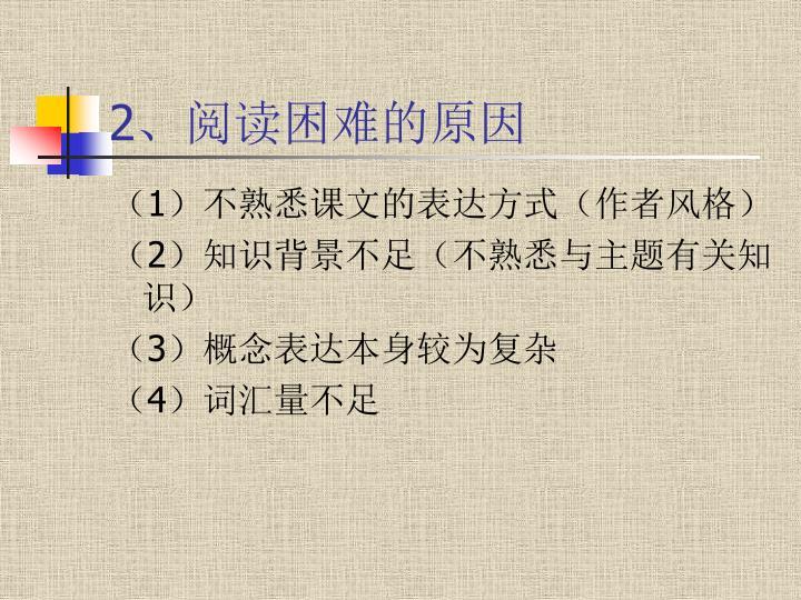 2、阅读困难的原因