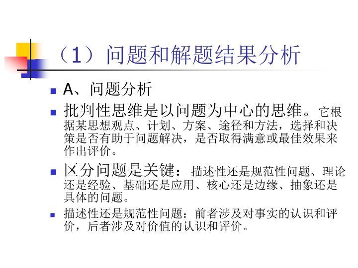 (1)问题和解题结果分析