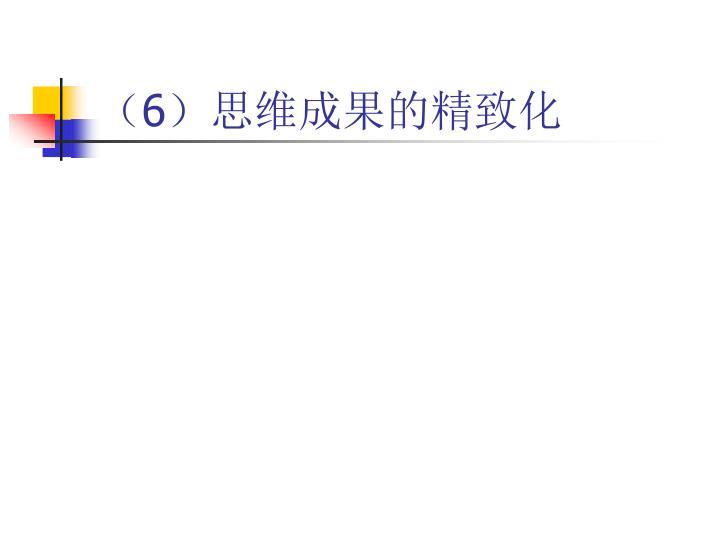 (6)思维成果的精致化