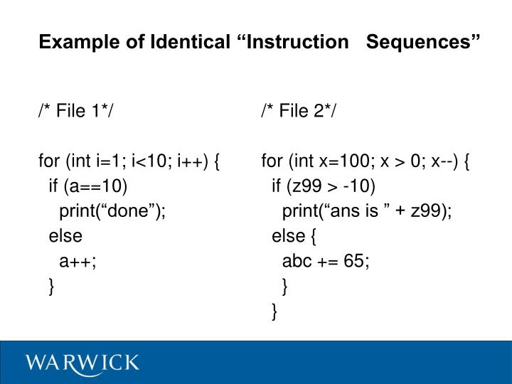 """Example of Identical """"Instruction   Sequences"""""""