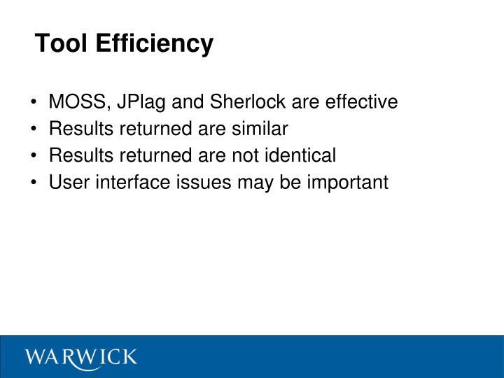 Tool Efficiency