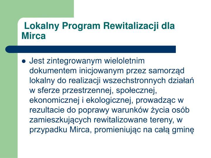 Lokalny program rewitalizacji dla mirca