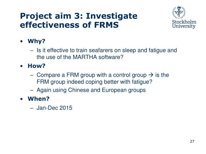 Project aim 3:
