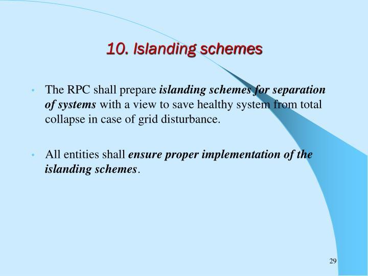 10. Islanding schemes