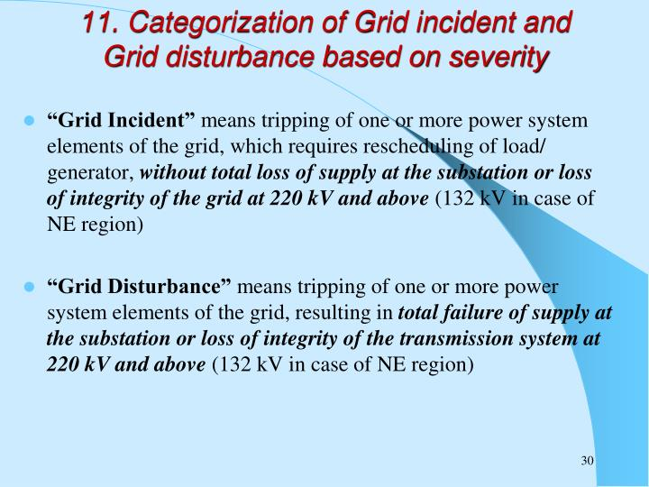 11. Categorization of Grid incident and Grid disturbance based on severity