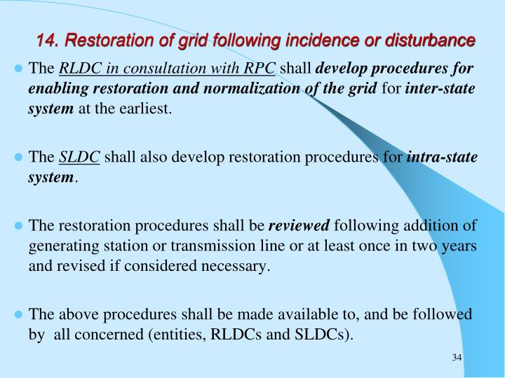 14. Restoration of grid following incidence or disturbance